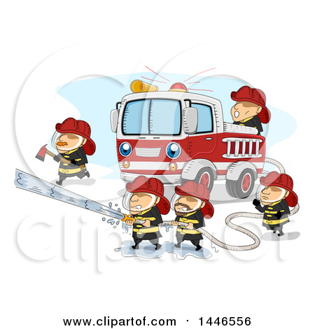 Clipart of Fire Men Operating a Hose to Extinguish a Fire.