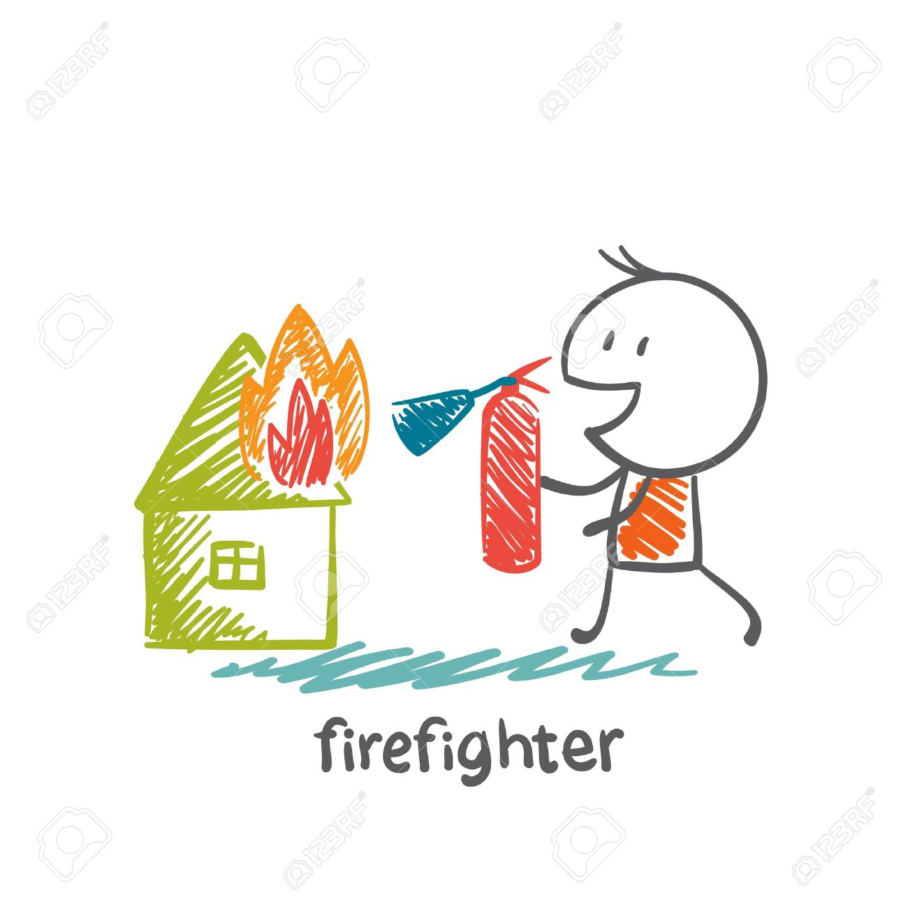 Firefighter Extinguish A Fire Extinguisher House Illustration.