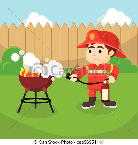 Vector Clip Art of Firefighter extinguish small fire csp36354114.