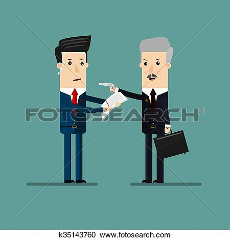 Clipart of Businessman threatening with a gun and exports.