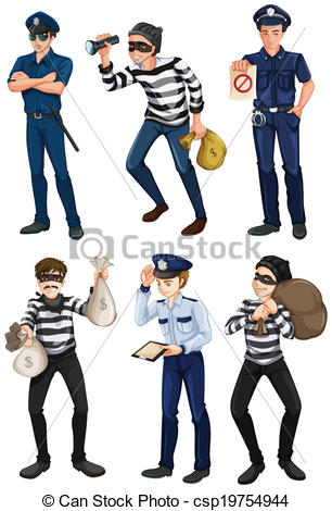 EPS Vector of Police officers and robbers.