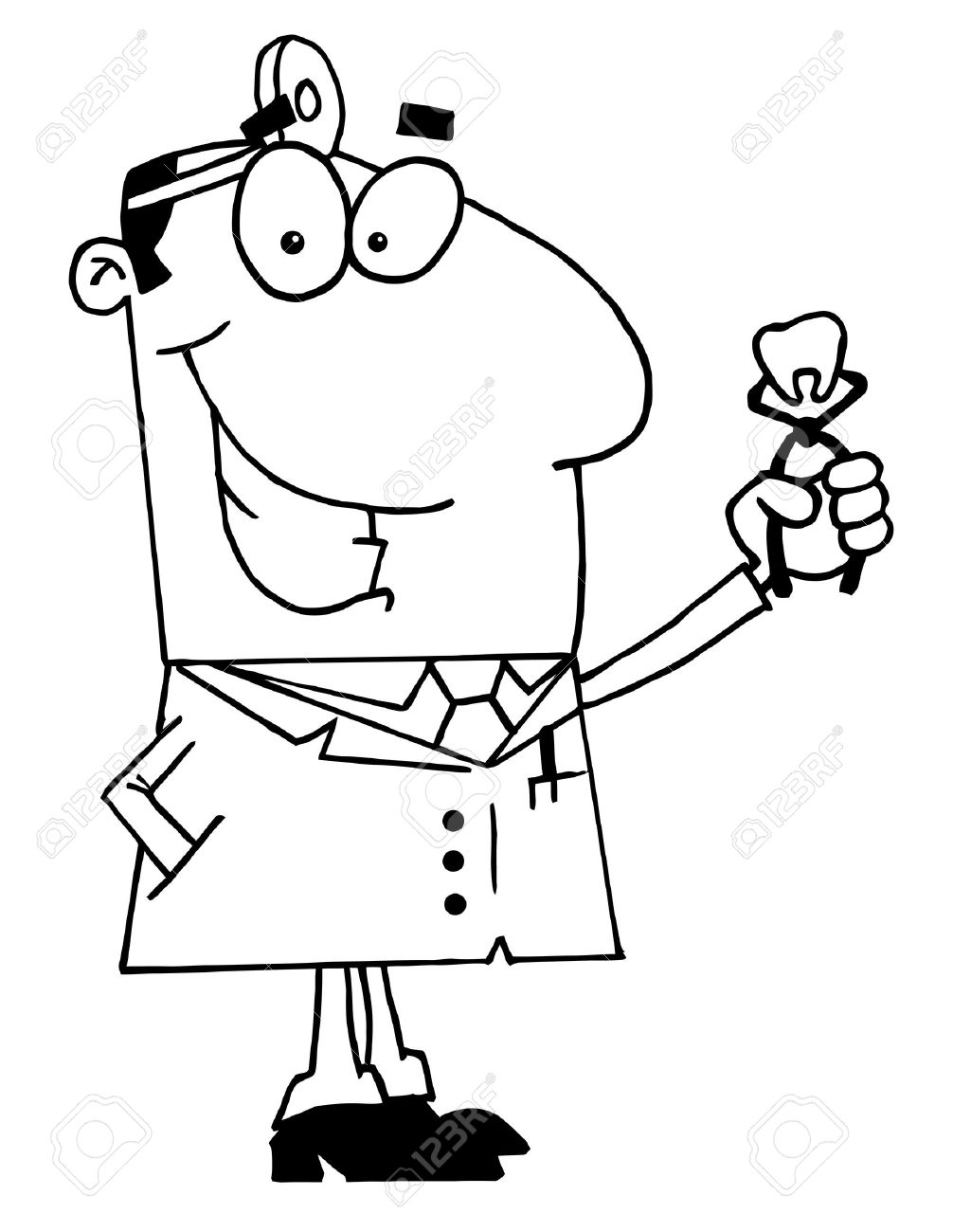 Clipart Illustration Of An Outlined Dentist Royalty Free Cliparts.
