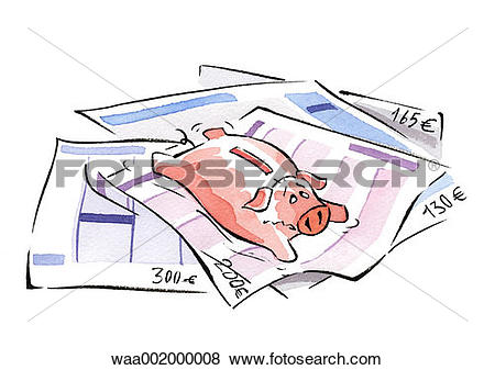 Stock Illustration of drawings, inflation, raise, spend.