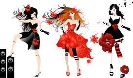 Three Beautiful Enticing Glamorous Woman Stock Illustrations.