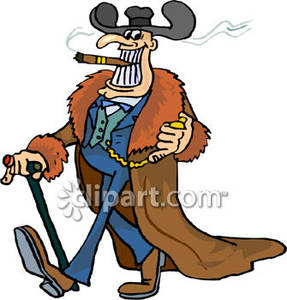 and Wealthy Person Walking with a Cigar In Mouth and Walking Cane.
