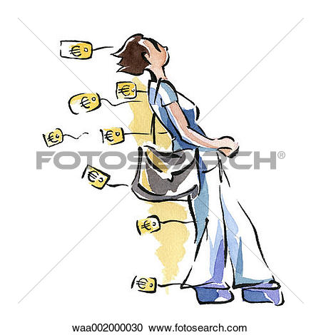 Stock Illustration of drawings, profits, spend, extravagant.