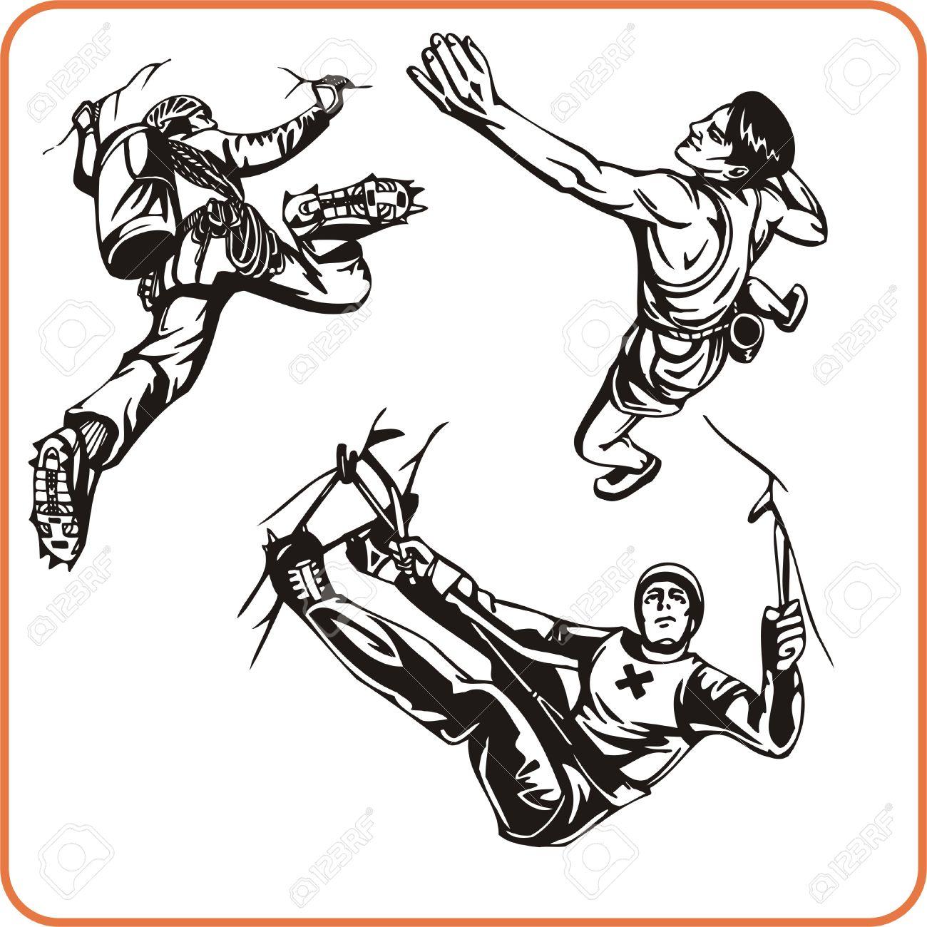 Rock Climber. Extreme Sport. Vector Illustration. Vinyl.