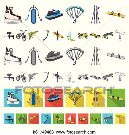 Extreme sport cartoon icons in set collection for design. Different kinds  of sports vector symbol stock web illustration. Clipart.