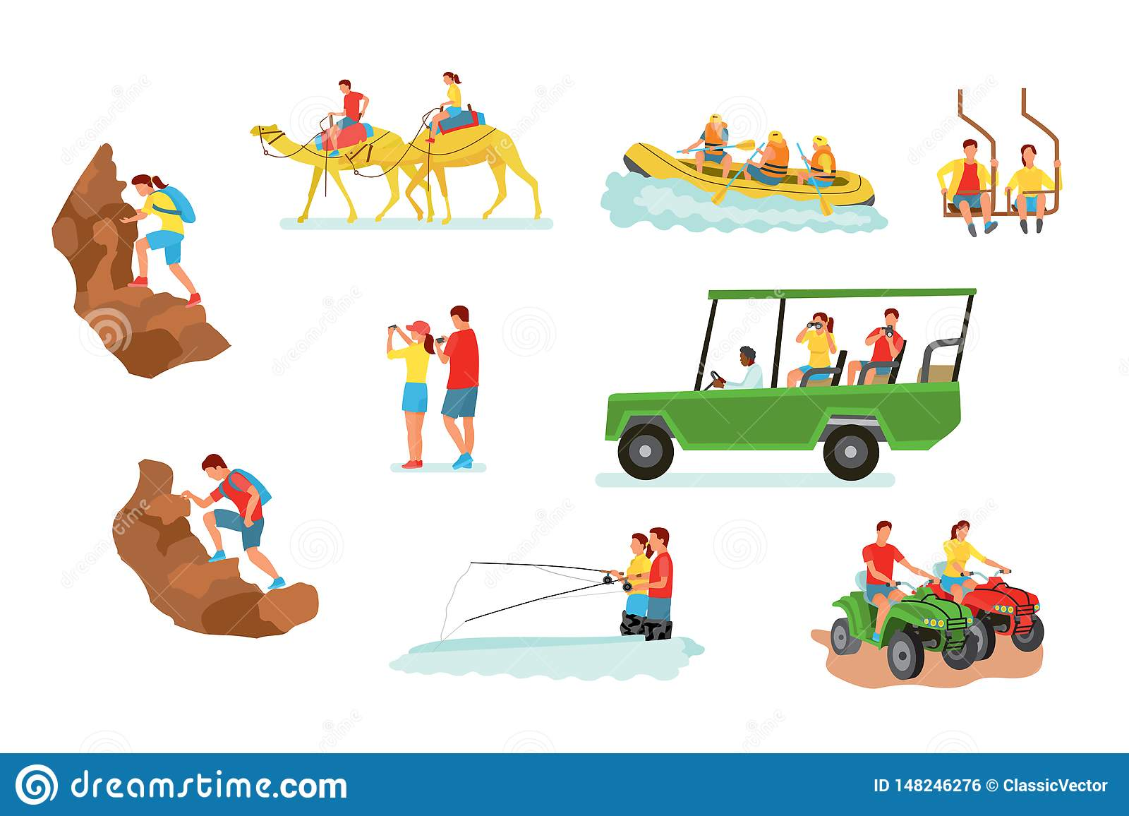 Active Travel Cartoon Vector Illustrations Set Stock Vector.