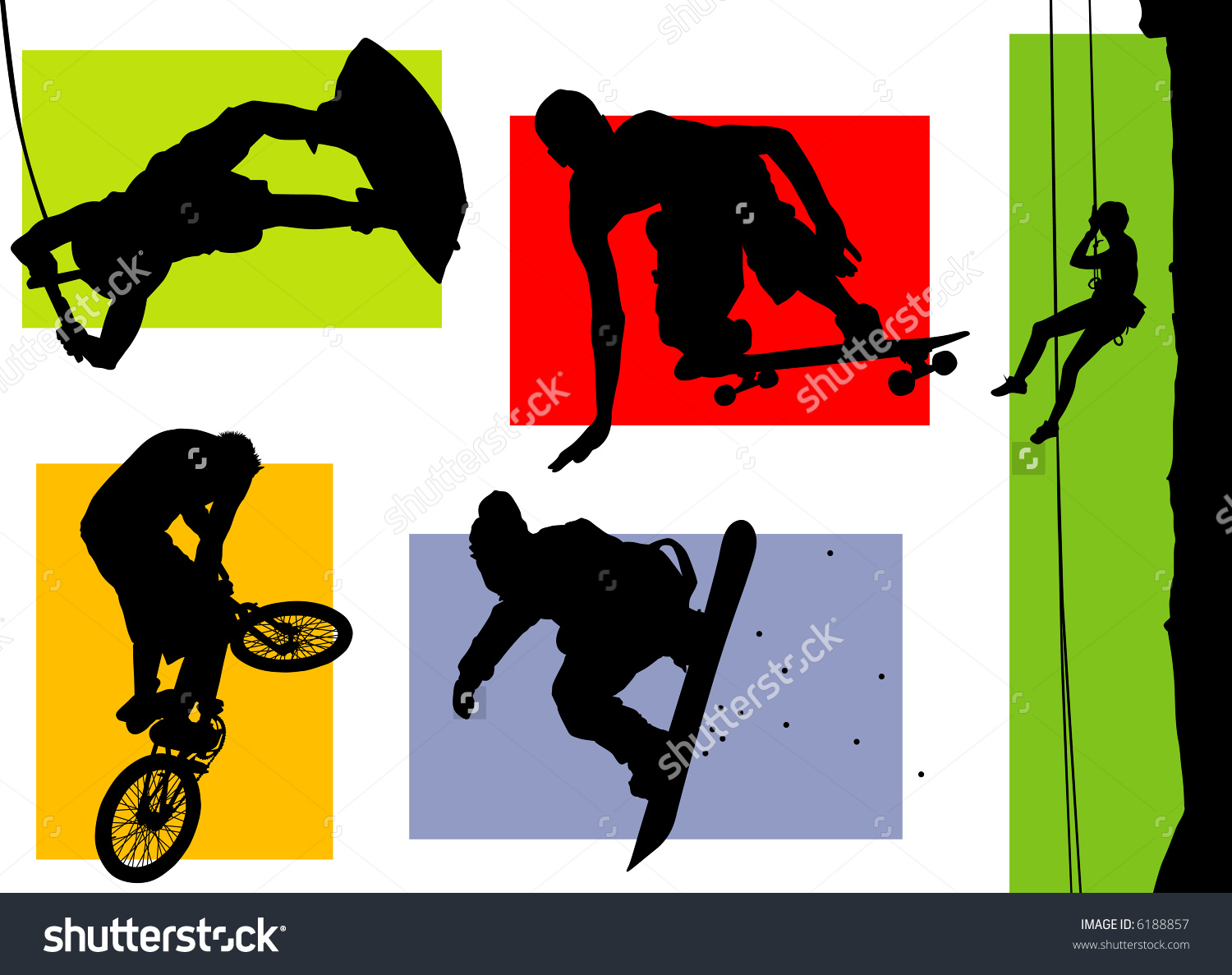 Silhouettes Of Several Extreme Sports Stock Vector Illustration.