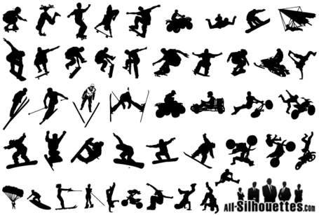 Extreme Sports Silhouettes Vector Free, Vector.