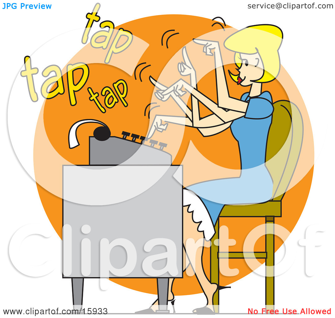 Pretty Blond Woman In A Blue Dress, Typing Extremely Fast On A.