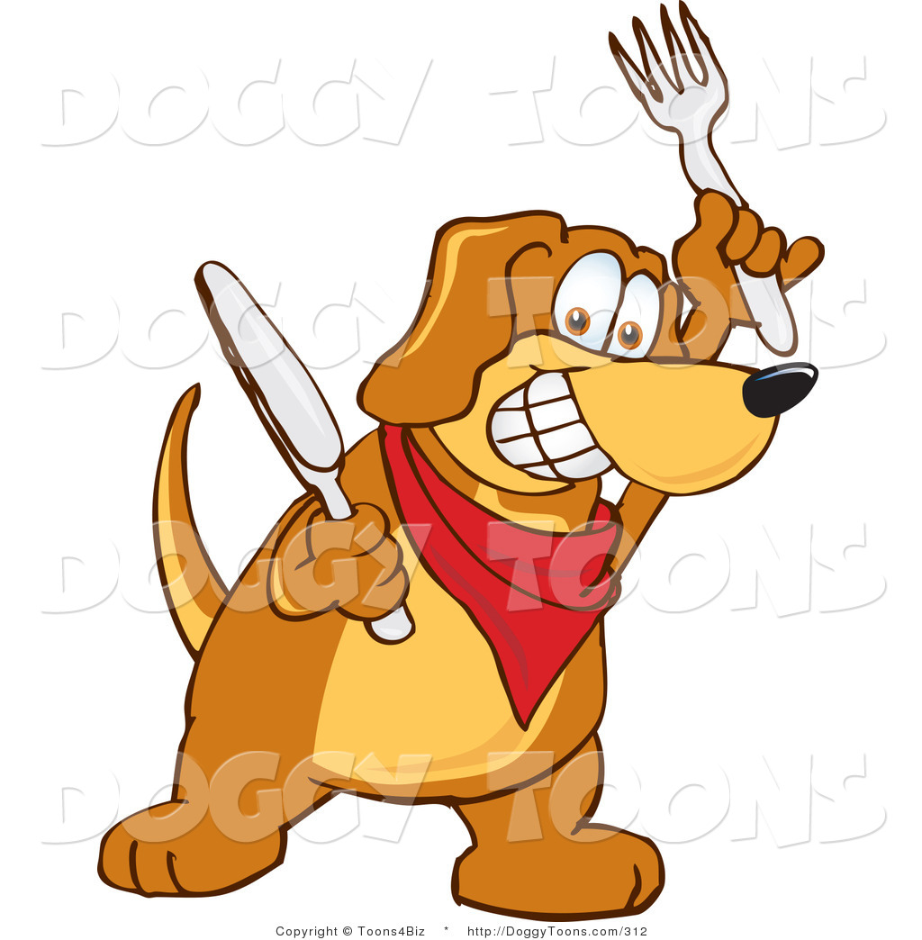 Doggy Clipart of a Hungry Brown Dog Mascot Cartoon Character.