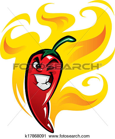 Clipart of Red extremely hot mexican cartoon chilli pepper.