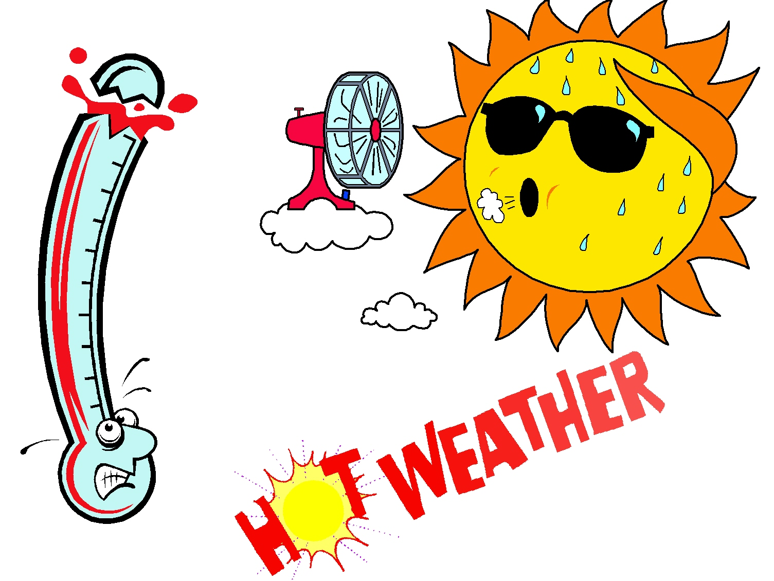 Very hot weather clipart.