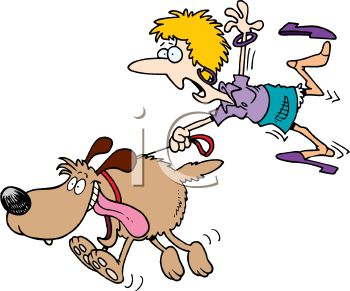 Cartoon of a Woman Being Dragged by a Large Exuberant Dog.