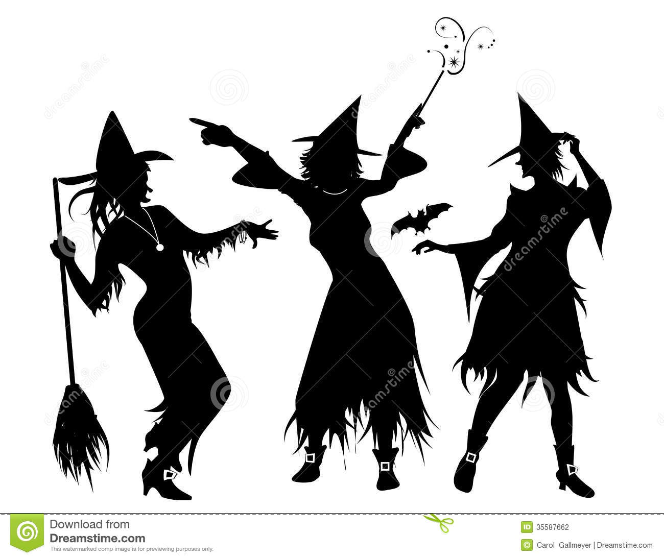 Three Witch Silhouettes Stock Photography.