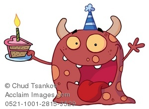 Exuberant Cartoon Party Monster With a Slice of Birthday Cake Clip.