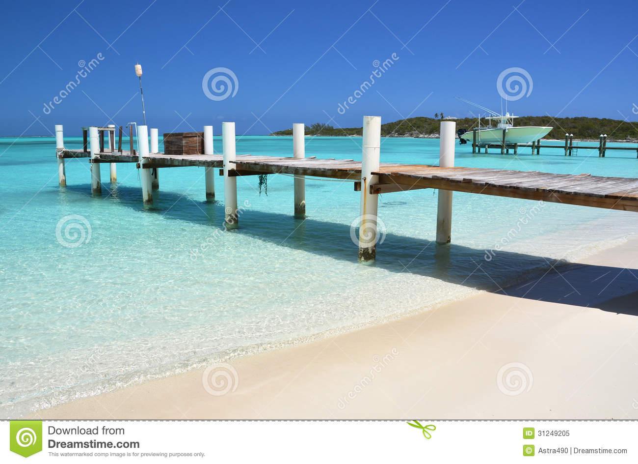 Wooden Pier. Exuma, Bahamas Royalty Free Stock Photo.