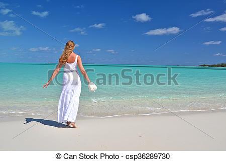 Stock Photos of Girl on the beach of Exuma, Bahamas csp36289730.