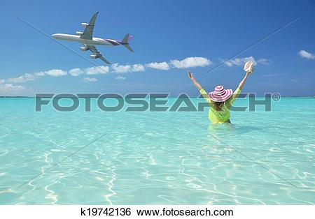 Stock Images of Beach scene. Great Exuma, Bahamas k19742136.