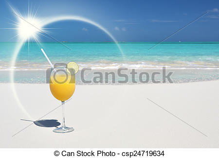 Stock Photos of Orange juice on the beach. Great Exuma, Bahamas.