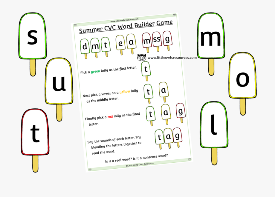 Free Summer Cvc Word Builder Printable Early Years/ey.