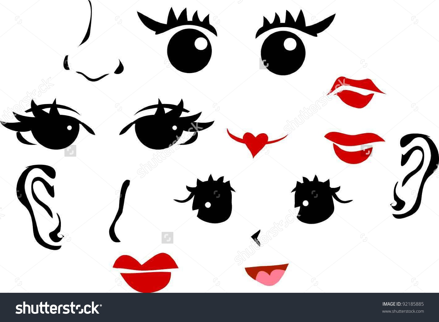 Face 3 Eyes 1 Ears 3 Stock Vector 92185885.