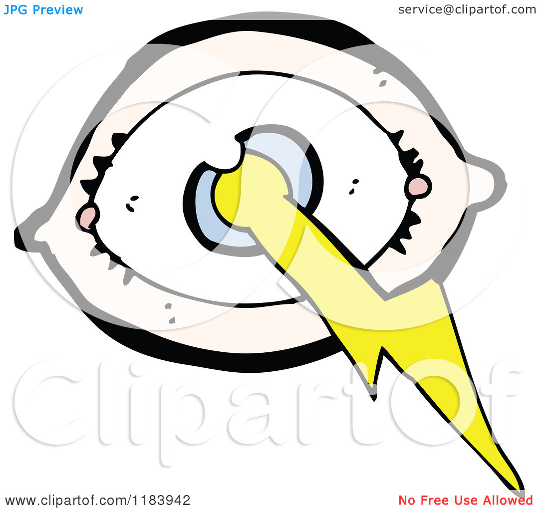 Cartoon of an Eye with a Lightning Bolt.
