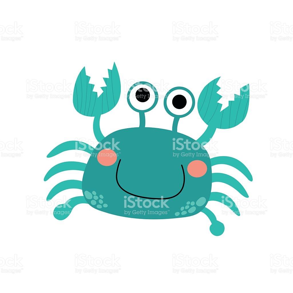 Happy Bue Crab Animal Cartoon Character Vector Illustration stock.