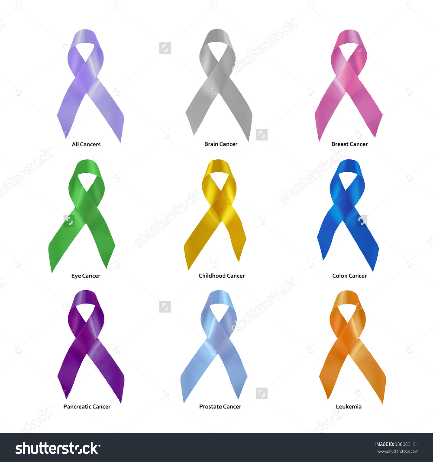 Set Cancer Awareness Ribbons Clipping Path Stock Photo 338083151.