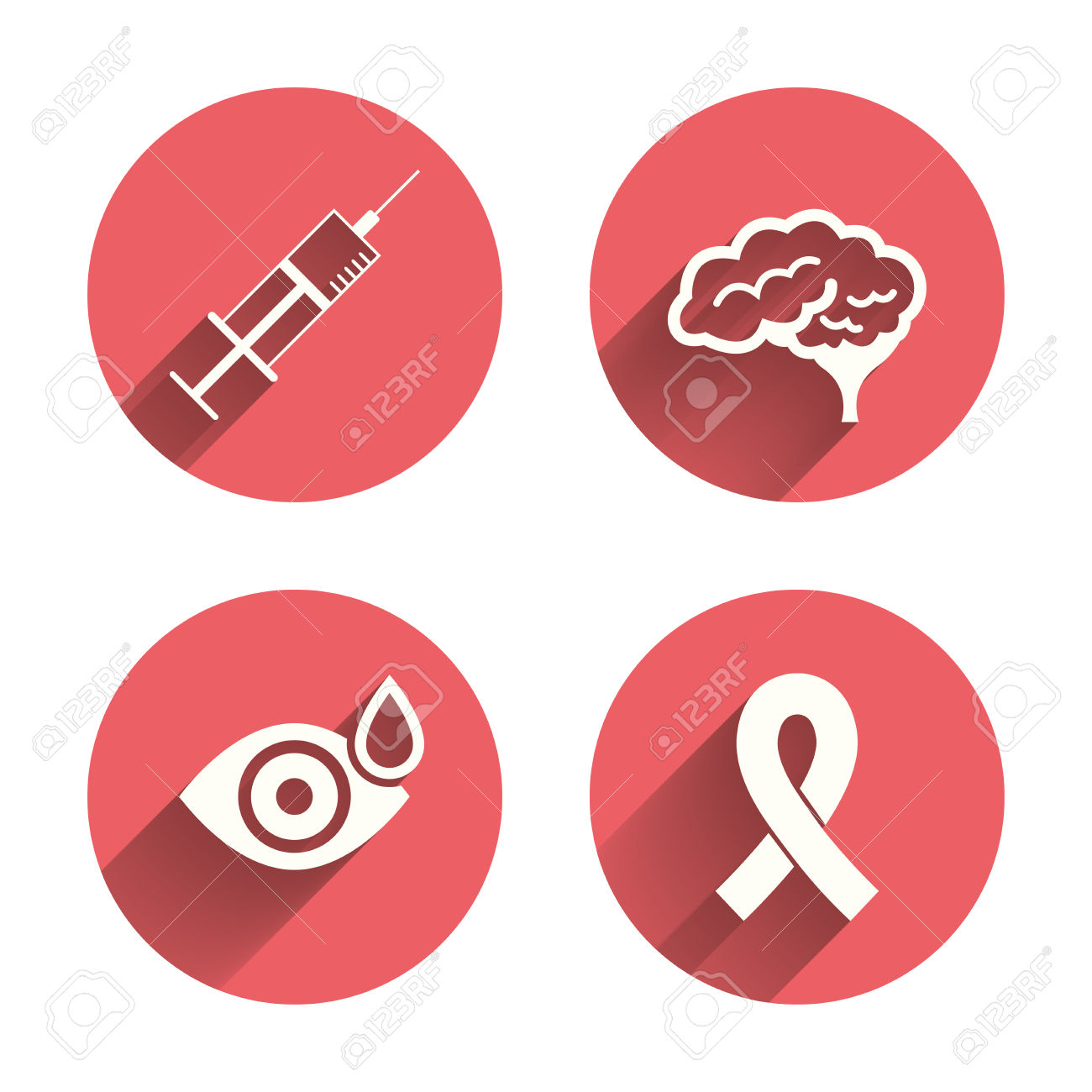 Medicine Icons. Syringe, Eye With Drop, Brain And Ribbon Signs.