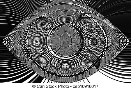 Clipart of Eye catcher in black and white csp18918017.