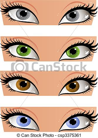 Vector Clip Art of Female color eyes look in the face csp3375361.