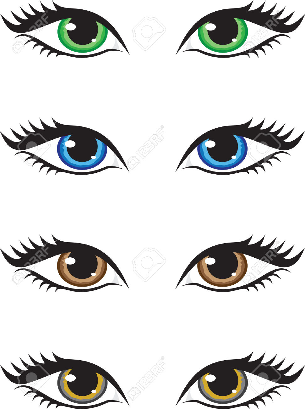 Four Pairs Of Eyes Of Different Colors, Green, Blue, Brown And.