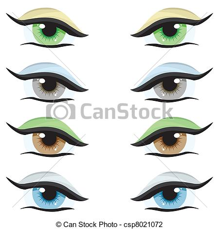 Vector Illustration of Vector set. Eyes of different colors on a.