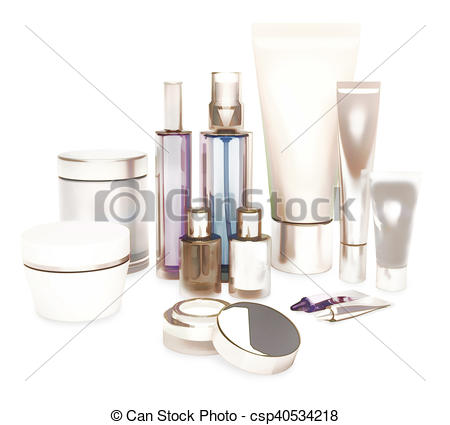 Clipart of Daily, beauty care cosmetic. Face cream, eye cream.