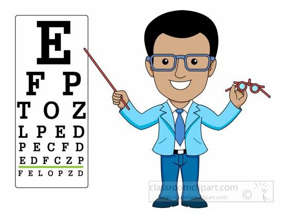 Optician Pointing To Eye Exam Chart Clipart » Clipart Portal.