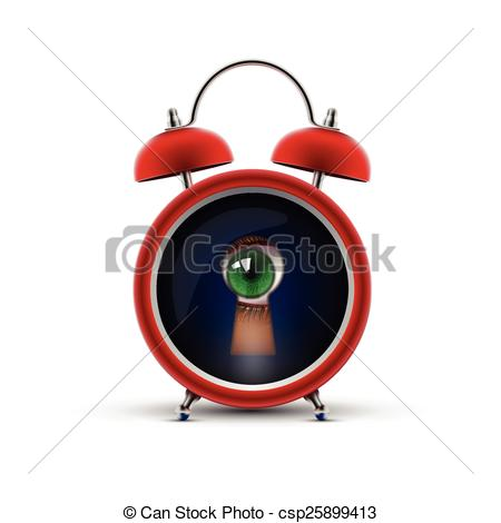 Vector Clip Art of clock with keyhole eye.