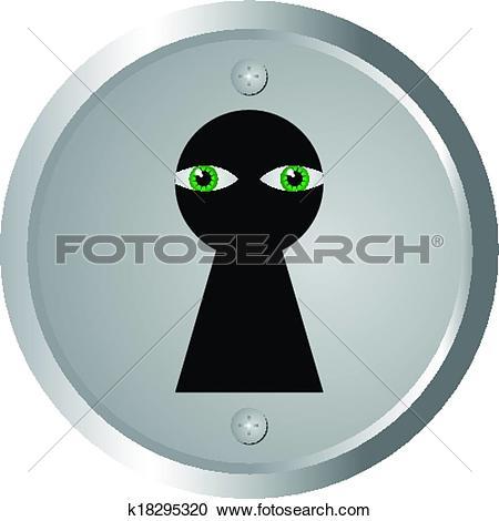 Clipart of eyes spy through keyhole k18295320.