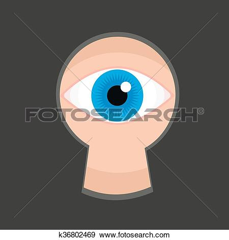 Clip Art of Eye in keyhole color flat vector k36802469.