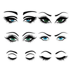 Eye lashes SVG Cuttable Designs.