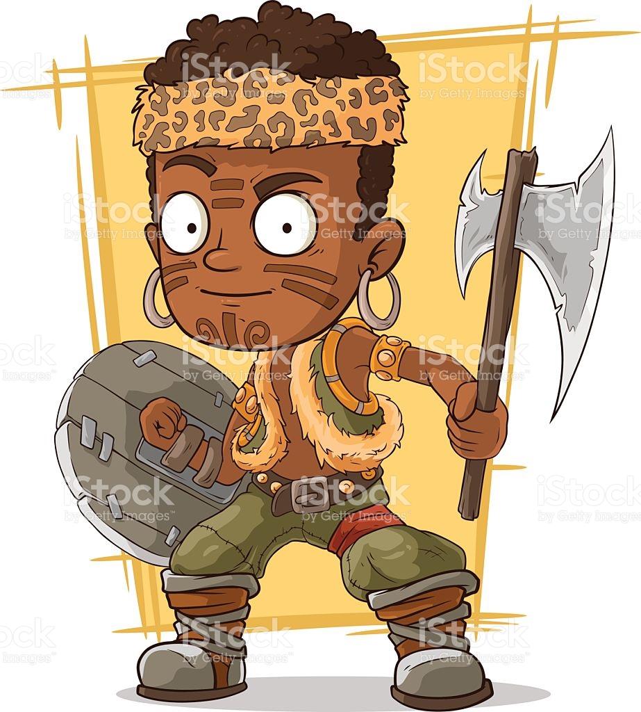 Cartoon Cool Zulu Warrior With Axe stock vector art 579143304.
