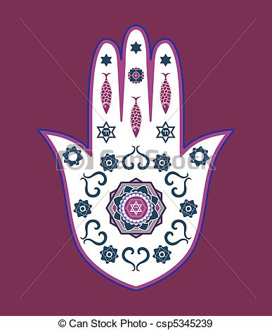 Clip Art Vector of Hamsa Hand Or Eye of Fatima.