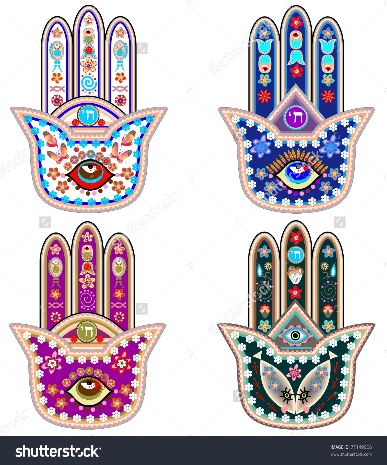 Set Of Fatima Hands Stock Vector Illustration 77149906 : Shutterstock.