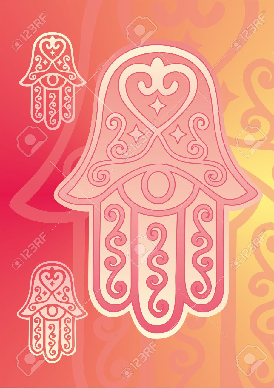 Hand Of Fatima With Eye In Pink Shades Royalty Free Cliparts.