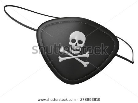 Pirate with two eye patches clipart.