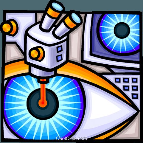 laser eye surgery Royalty Free Vector Clip Art illustration.