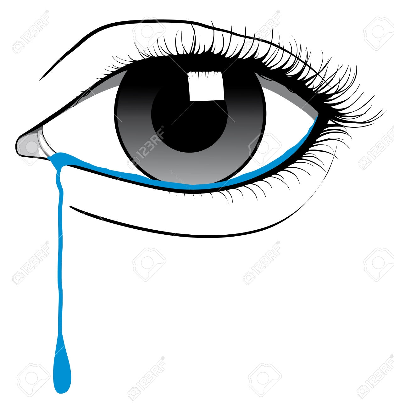 Eye with tears clipart.