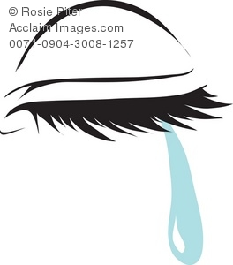 Clipart Illustration of a Closed Eye With a Tear.